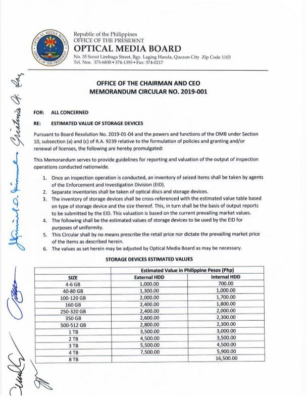 FYI: New Memorandum Circular 2019-001