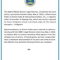 Show Cause Order against Orient Cable